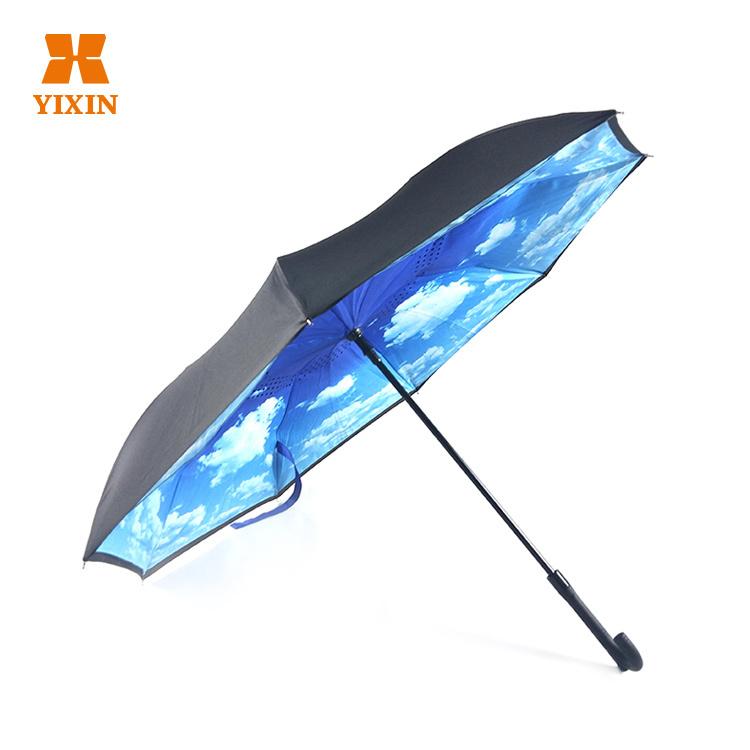 2019 Advertising Sky Windproof Straight Reverse Umbrella Upside Down