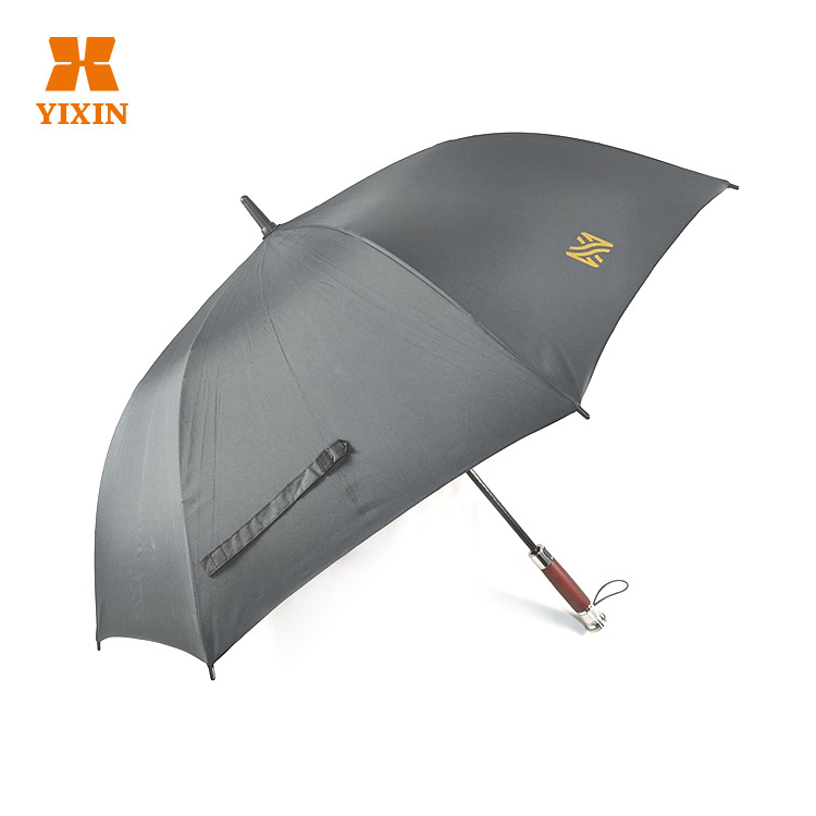 2019 High Quality Automatic Umbrella Open 27 Inch 8 Ribs Golf Straight Wooden With Silver Handle Umbrella