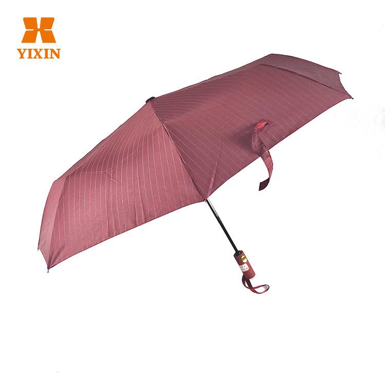 Windproof Reverse Flip Stripe Soft 3 Folding Umbrella 21 Inch 8K Portable Mini