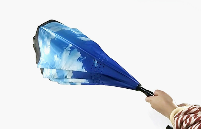 2019 Advertising Sky Windproof Straight Tiantang Reverse Umbrella