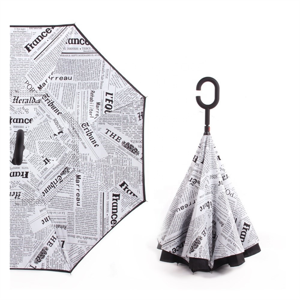 Custom Logo Waterproof Newspaper Reverse Inverted Umbrella