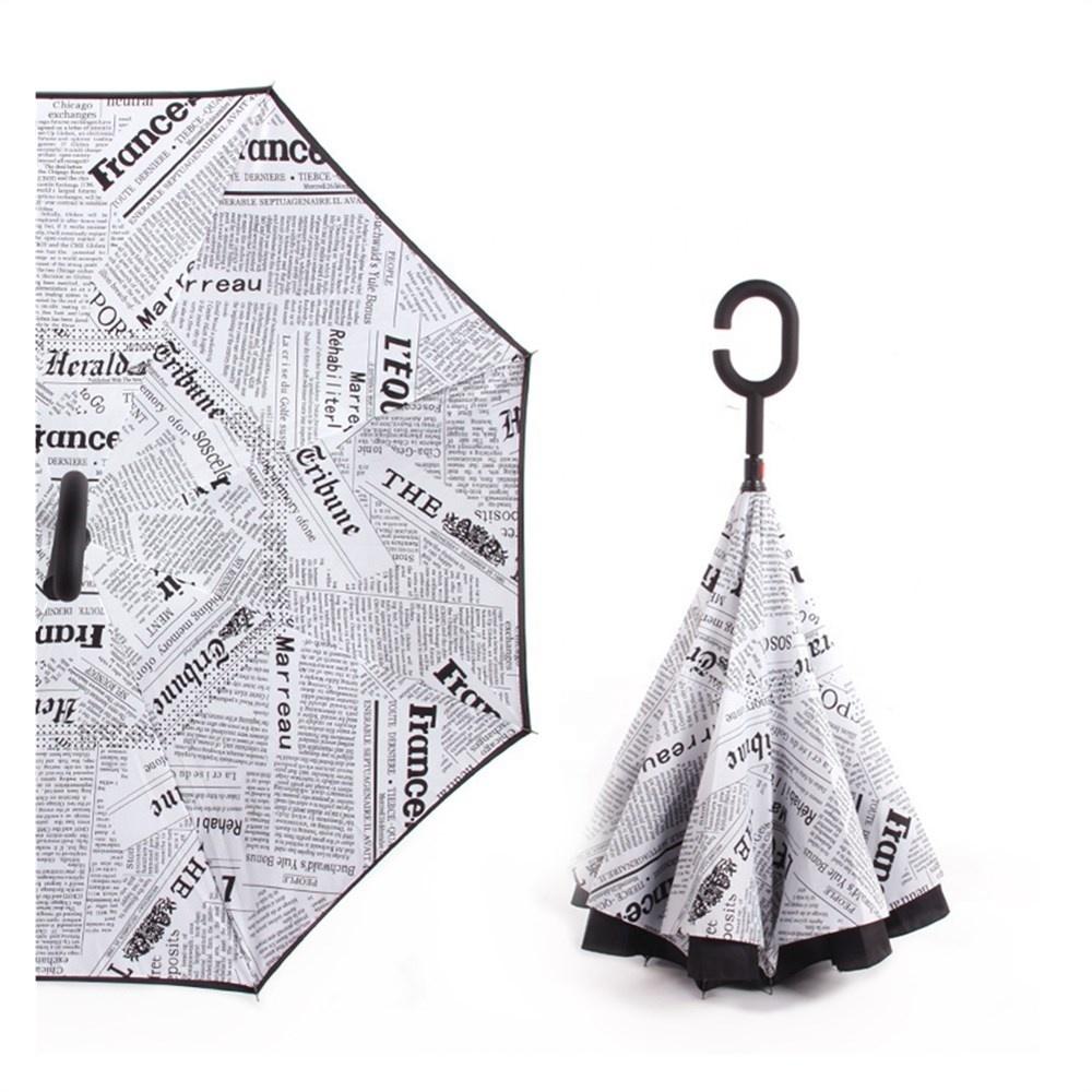 Custom Logo Waterproof Newspaper Reverse Inverted Umbrella