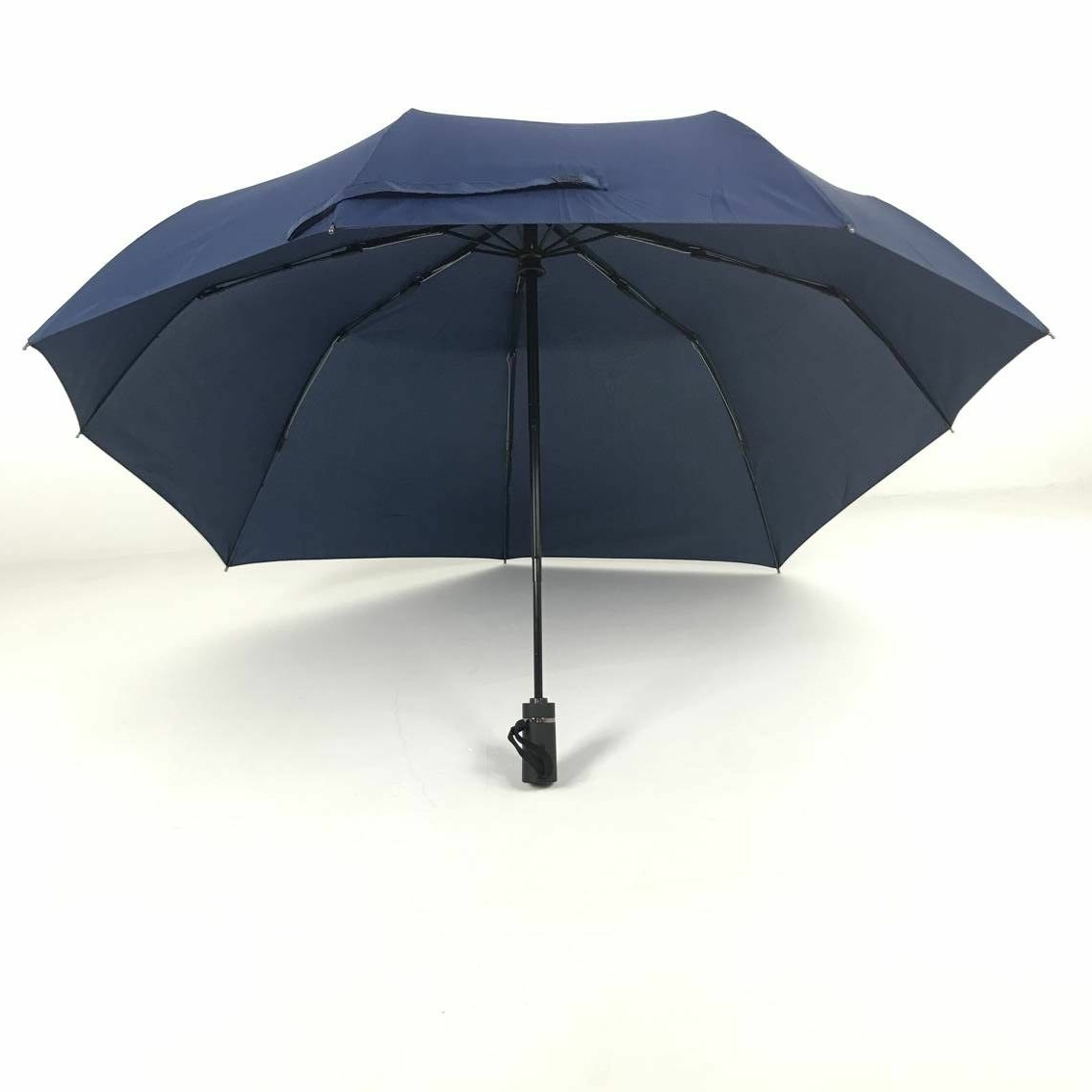 Custom Logo New Shape Outdoor Travel Backpack Automatic Reverse 3 Fold Umbrella