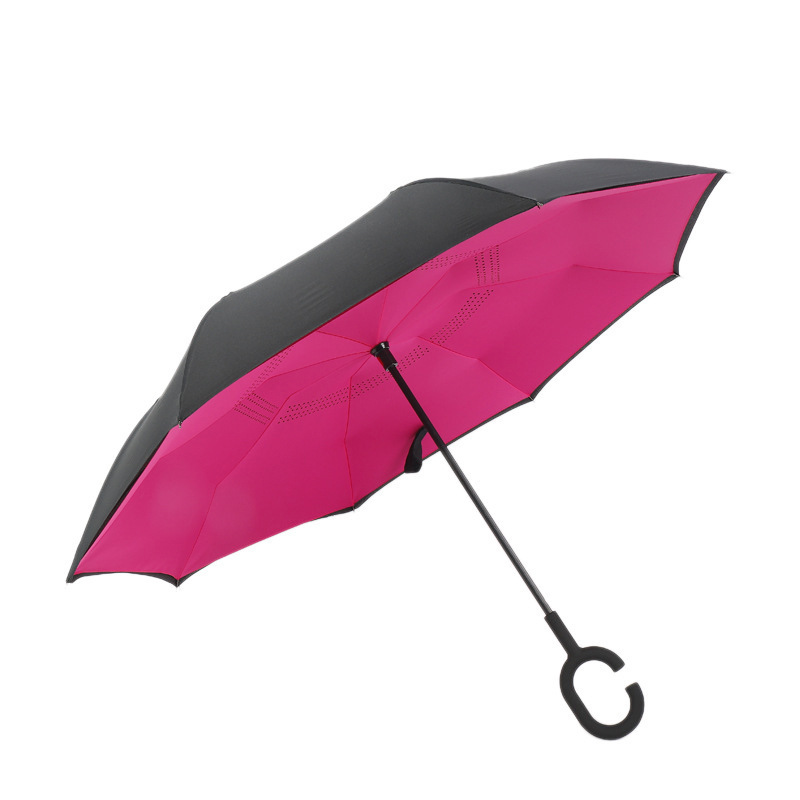 Creative double-layer C-shaped night reflection reverse umbrella
