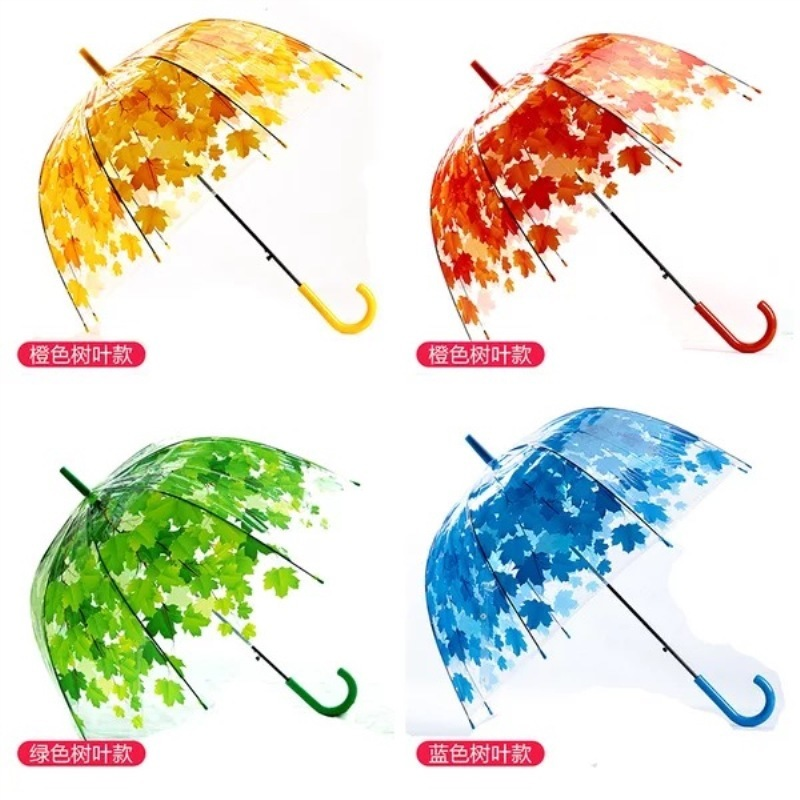 Arched long handle transparent umbrella leaf printing
