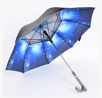 Creative Straight Cane Umbrella USB Charging Sunscreen Fan Umbrella
