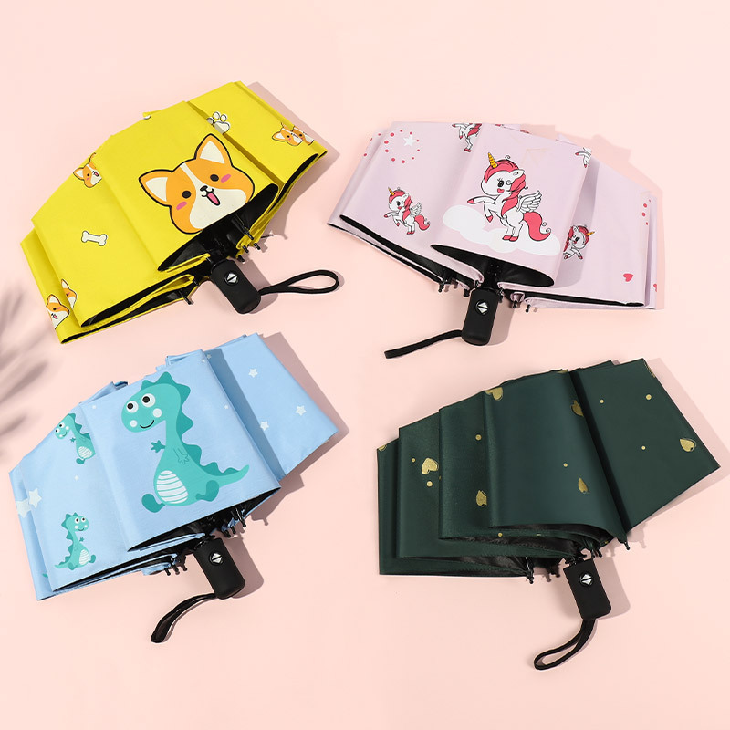 Umbrella Fully Automatic Children's Creative Cartoon Folding Vinyl Umbrella