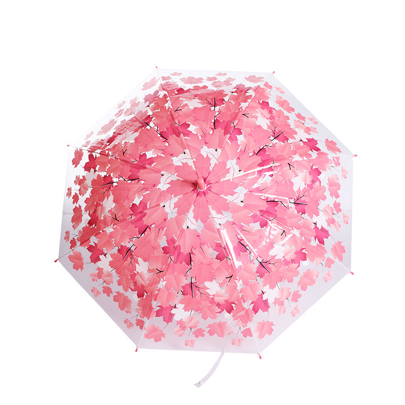 Manual 8-Bone Small Fresh Straight Long Handle Transparent Umbrella