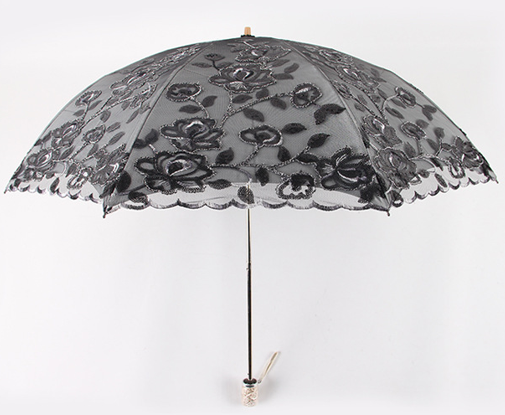 New rain umbrella sun umbrella embroidery lace umbrella two fold double layer anti-ultraviolet