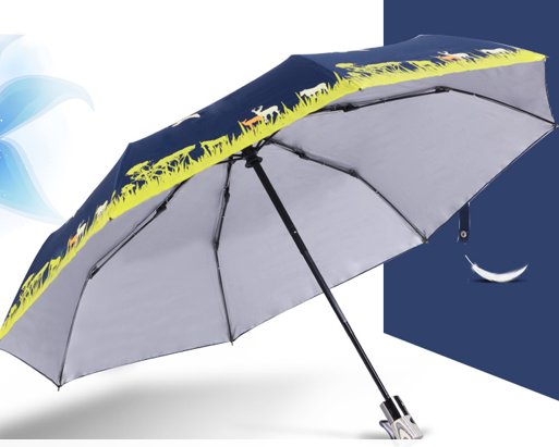 Thickened and enlarged silver tape shade cartoon folding umbrella