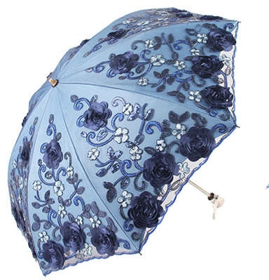 Two-fold double-layer lace umbrella embroidered vinyl UV protection umbrella