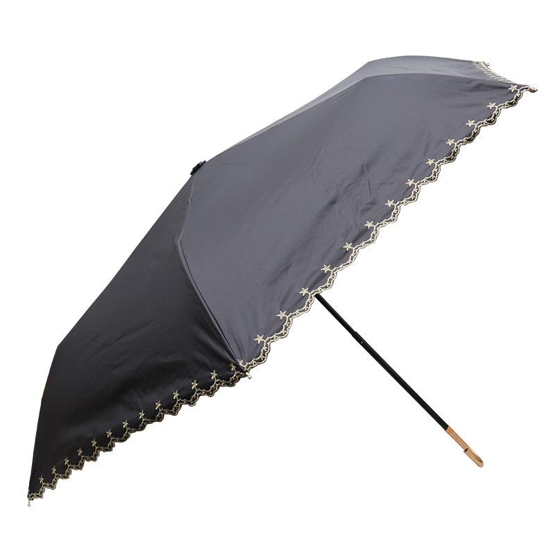 Creative Embroidered Umbrella Rain Manual Tri-fold Hook Umbrella Handle