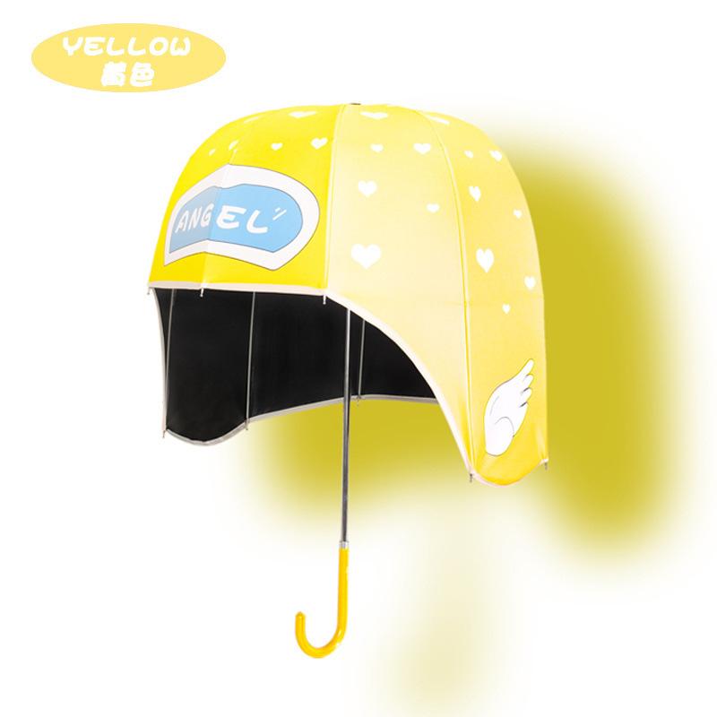Sun and rain dual-purpose umbrella creative new children's vinyl sunscreen helmet umbrella