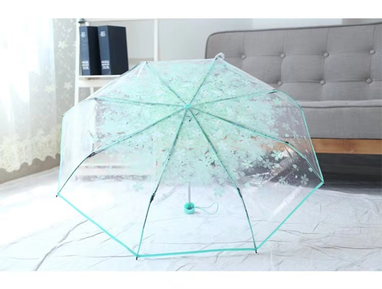 Creative Folding Transparent Umbrella Cherry Blossom Printed Umbrella Flower