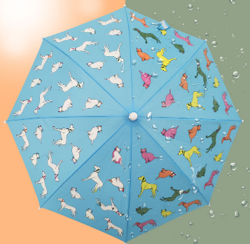 Safe hand-opened children's umbrella that changes color when exposed to water