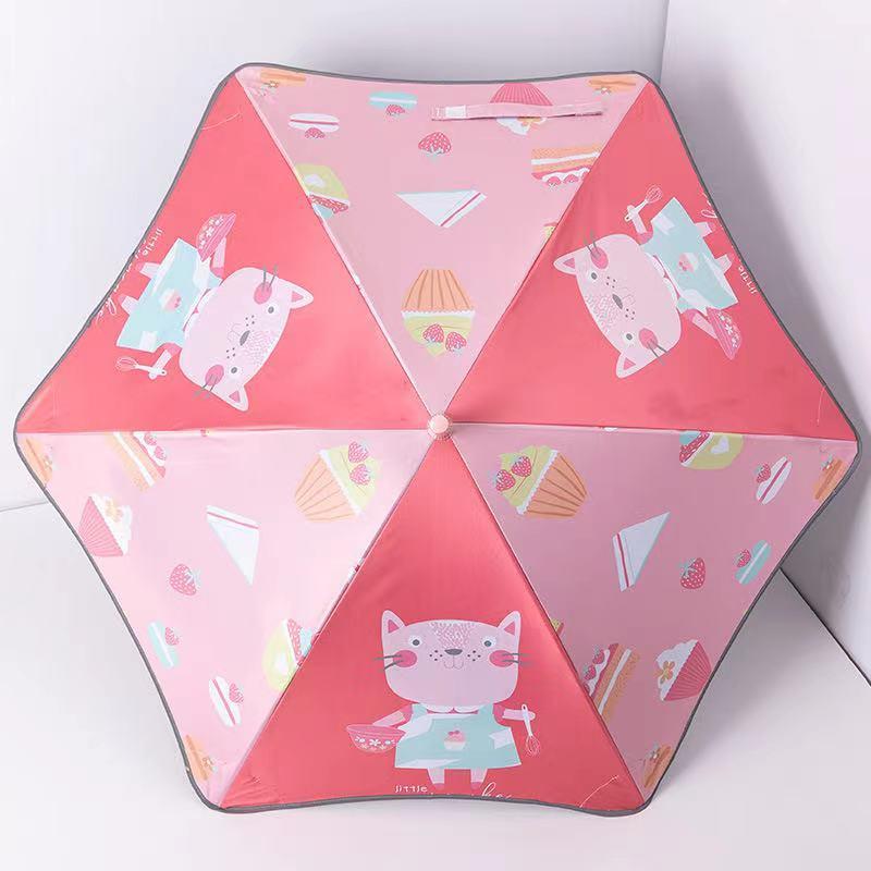New children's curved handle reflective rounded corner children's umbrella