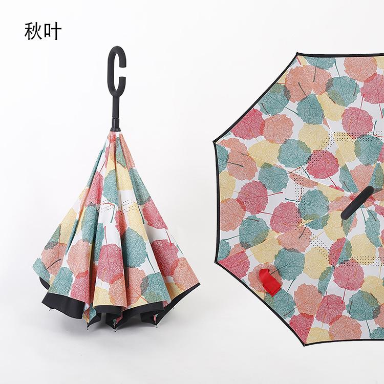 Long Handle Umbrella Reverse Umbrella Double-layer Hand-free Rain and Rain Umbrella