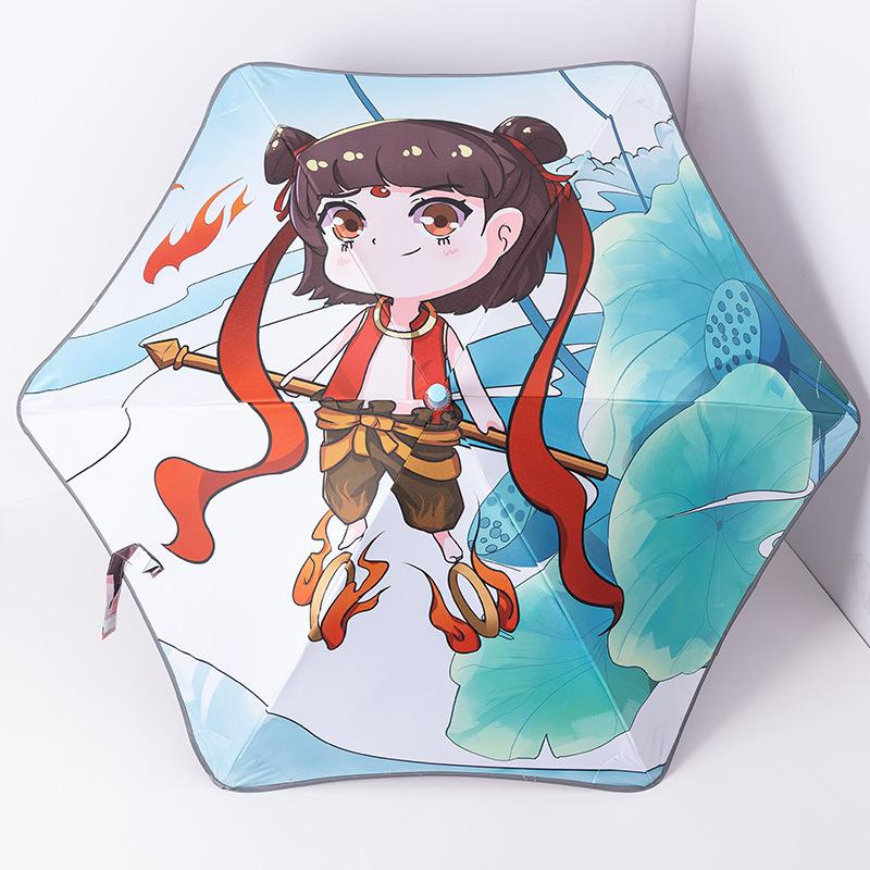 Children's round corner push-pull curved handle cartoon pattern umbrella