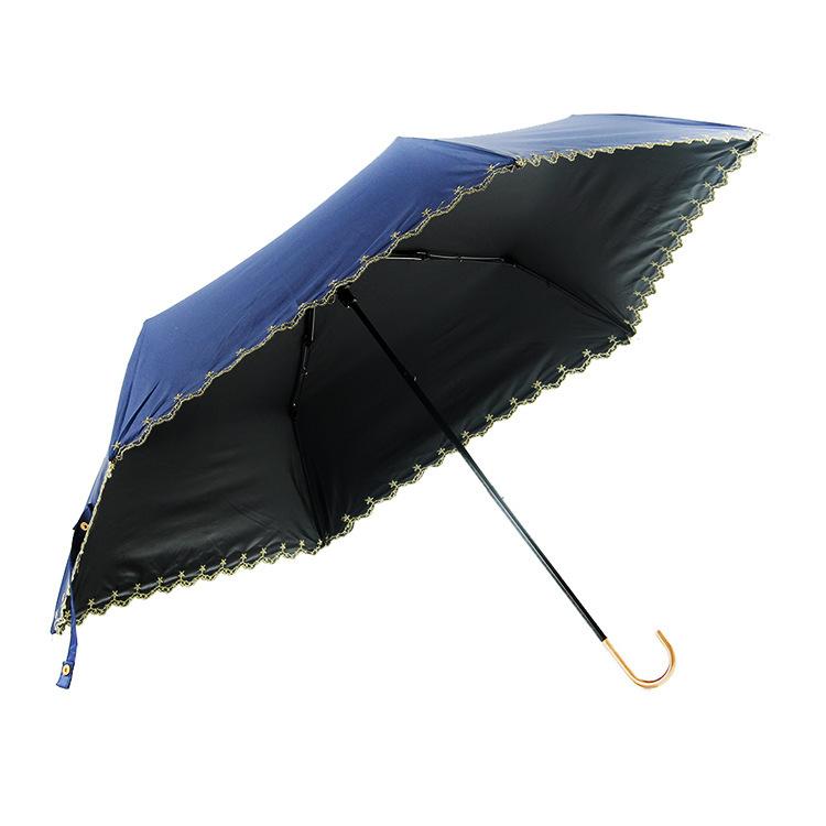 Summer curved hook handle embroidery umbrella rain or shine dual-use folding umbrella
